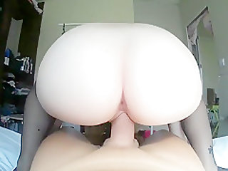 POV Russian Teen Riding Huge Cock until Creampie